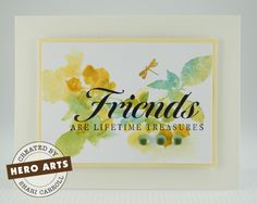 watercolor stamped friends card by Shari Carroll