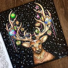 A reindeer nose that makes sense! Secret Garden Coloring Book, Coloring Book Art, Colouring Pages, Johanna Basford Books, Johanna Basford Coloring Book, Magical Christmas, Christmas Books, Joanna Basford, Christmas Drawing