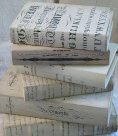 What a charming way to cover books just for filling a bookcase or even a small but special place . . .