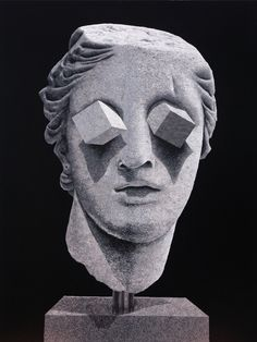 Gray art sculpture by Daniel Arsham Eyes 2010 Gouache on mylar