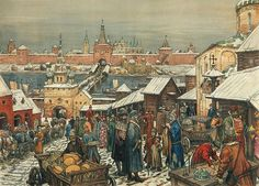 markt gouden eeuw Medieval Market, Medieval Town, Russian Folk, Russian Art, Saint Basile, Grand Prince, Russian Architecture, Early Middle Ages, Russian Painting