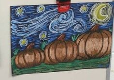 Students will learn about Vincent Van Gogh's Starry Night painting, and then do a step-by-step drawing of their own Starry Night Pumpkins for fall harvest.