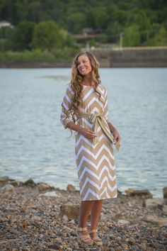 Beige Chevron Swimdress | Dainty Jewell's Modest Fashion | Made with soft lycra spandex, this dress is perfect for a day of sun, wind, and waves: makes a great cover-up! More styles at www.daintyjewells.com