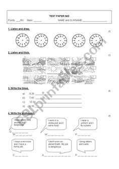 Happy street 2 - Test paper - ESL worksheet by English Lessons For Kids, Esl Lessons, Vocabulary Games, Grammar And Vocabulary, Teacher Notes, Best Teacher, Teaching Kids, Teaching Resources, Kids Learning