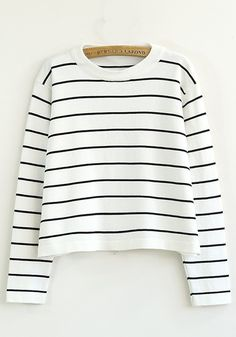 White Striped Round Neck Long Sleeve Knit Sweater