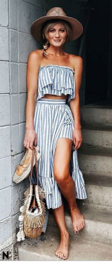 Vacation outfit, what to wear to a resort, cute two piece outfit, striped skirt and top set, what to wear this summer, midi skirt and top outfit #mystyle #fashion #ootd affiliate