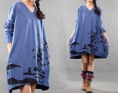 New Fashion Women Blue Print Tops Long Sleeve Baggy Hem Tops Clothing V-neck Dresses Cotton Tops on Etsy, $52.00