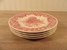 Four Queens Thanksgiving pattern red transfer on white vintage salad plates- fine condition by HeathersCollectibles on Etsy