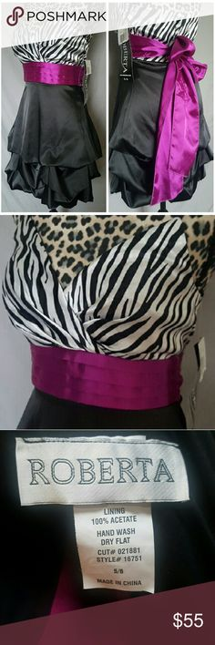 Gorgeous Dress Adorable silky black and zebra party dress with a pop of purple detailing. Size 5/6. NEVER BEEN WORN PERFECT CONDITION. Roberta  Dresses