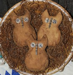 Primitive Hoot Owl Bowl Fillers Ornies by OldeAnniePrimitives, $10.95