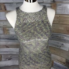 {Sanctuary} Shimmery Crocheted Sweater Tank Gorgeous! This top features beautiful shimmery gold thread crocheted with rich lavender and green shades. Lovely sleek shape and cut. Tags showed so have been removed, but this is Sanctuary, size Small. Sanctuary Tops Tank Tops