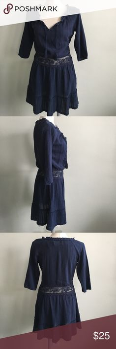 Abercrombie & Fitch Navy Blue Dress NWT never used. Navy Blue dress with lace mesh waist, hidden zipper on side , V neck with tassle Abercrombie & Fitch Dresses