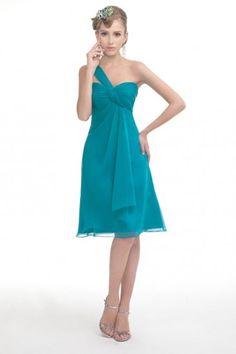 Knee Length One Shoulder Empire Waist Chiffon Bridesmaid Dress