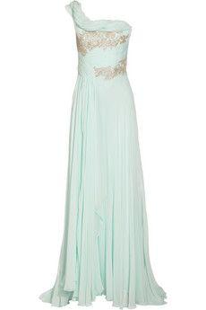 One-shoulder silk-chiffon gown by Marchesa