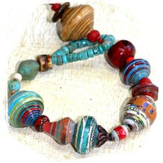 chunky colorful paper bead bracelet by rocksandpaperswans on Etsy, $32.00