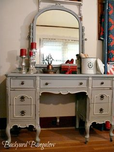Chalk painted vanity -- it would be great if you could find a mirror similar to this and then paint them to match! @Winter Hall