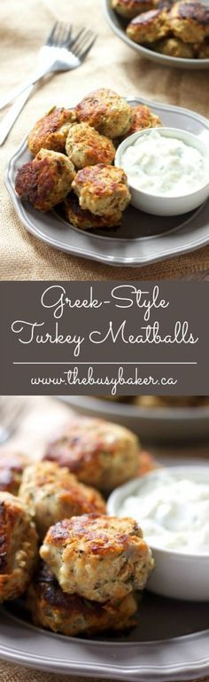 These Skinny Greek-Style Turkey Meatballs are a delicious meal idea! http://www.thebusybaker.ca