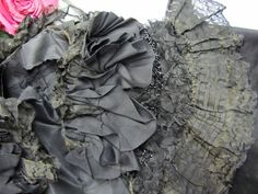 """Antique Victorian Pure Silk Cloak Cape Mantle Beadwork Ruched Ribbons 41x19""""   eBay"""