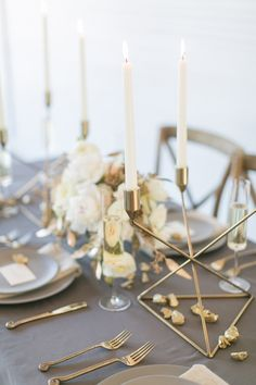 modern grey and gold tablescape - photo by Amanda Jameson Photography