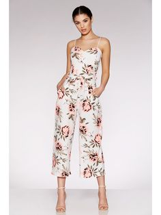 Cream And Coral Floral Print Culotte Jumpsuit