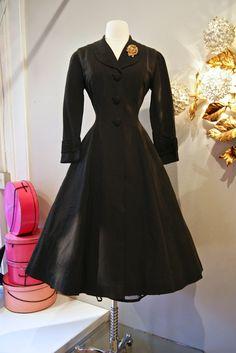 Vintage 1950's // 50's Black Faille Coat Dress by xtabayvintage, $248.00