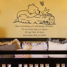 Pooh nursery ideas classic and piglet you must always remember baby child quote vinyl wall decal . pooh nursery ideas wall decor for kids Winnie The Pooh Nursery, Baby Boy Nursery Themes, Bear Nursery, Disney Nursery, Baby Boy Nurseries, Nursery Ideas, Disney Baby Nurseries, Baby Decor, Book Themed Nursery