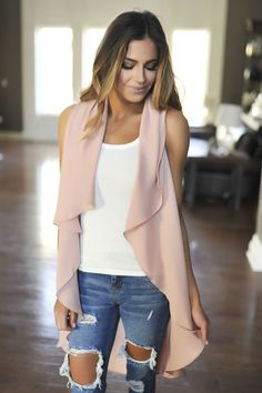 Dusty Rose Chiffon Draped Vest - Dottie Couture Boutique