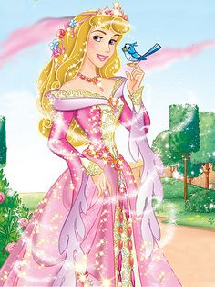 Princess Aurora in her beautiful sparkling pink dress and her blue bird friend