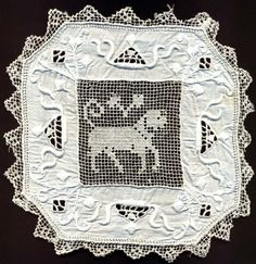 HAND EMBROIDERED DOILIES/MATS - DRAWN THREAD WORK - SATIN STITCH - NETTING