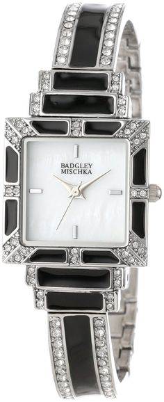Badgley Mischka Women's BA/1245WMBB Swarovski Crystal Accented Silver-Tone Black Enamel Bangle Watch