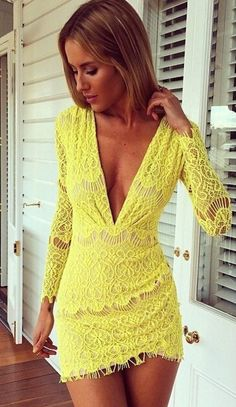 Yellow Deep V Neck Long Sleeve Bodycon Lace Dress - abaday.com