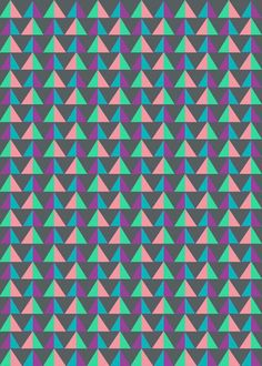 Bright, colourful, vibrant pattern design ideas and inspiration. Love this geometric triangle print.