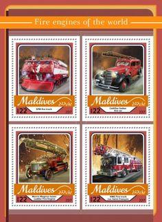 MLD17104a Fire engines (SPM fire truck; Cadillac Sedan fire car; Morris Magirus tower Ladder Fire Engine; HME Fire truck Lac Saint-François) Moto Guzzi California, Cadillac, Morris, Mv Agusta, Fire Engine, Maldives, Harley Davidson, Sedan, Stamps