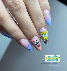 Disney Acrylic Nails, Acrylic Nails Coffin Short, Simple Acrylic Nails, Summer Acrylic Nails, Best Acrylic Nails, Cartoon Nail Designs, Nail Art Designs Videos, Short Nail Designs, Edgy Nails