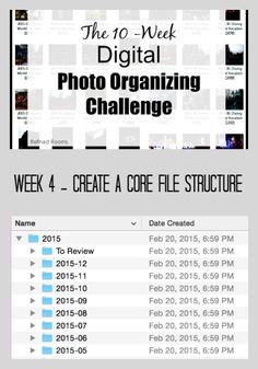 Creating a Core File Structure is one of the key action steps involved in organizing your digital photos. Let me walk you through the process in the Digital Photo Organizing Challenge! Scrapbook Organization, Paper Organization, Life Organization, Digital Photography, Photography Tips, Photography Projects, Iphone Photography, Urban Photography, Organisation