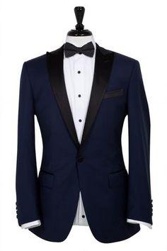 Navy Blue Tuxedo - Super Wool – Styles By Kutty Mens Tuxedo Jacket, Tuxedo Suit, Tuxedo For Men, Black Tuxedo, Tuxedo Jackets, Navy Blue Tuxedos, Navy Blue Suit, Navy Suits, Blue Tuxedo Wedding