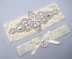 Bridal Garter Set, Silver Crystal Rhinestone Keepsake / Toss White / Ivory Stretch Lace Wedding Garter, Custom Size, Petite, Plus Size