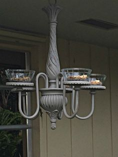 SOLD birdfeeder chandelier upcycled vintage style SOLD by LuckyArtStudio
