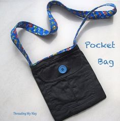 Threading My Way: Pocket Bag...  USE RECYCLED PANTS TO MAKE A BAG FOR EITHER A CROSS BODY PURSE OR PAINT SUPPLY BAG .... OR BOTH!