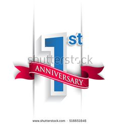 first year anniversary logo, blue and red colored vector design on white background. template for Poster or brochure and invitation card.