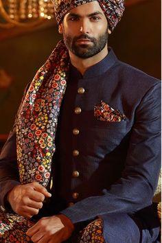 Buy Midnight Blue Raw Silk Wedding Sherwani Online Wedding Dresses Men Indian, Wedding Outfits For Groom, Wedding Dress Men, Wedding Attire, Kurta Men, Mens Sherwani, Wedding Sherwani, Sherwani Groom, Mens Head Wrap
