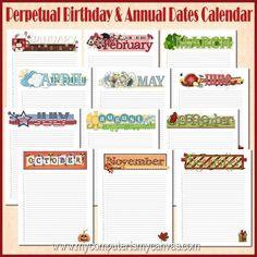 calendar birthday template