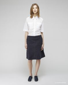 Margaret Howell / Safari Shirt MHL by Margaret Howell / Sailor Skirt  Jil Sander / Laser Cut Heeled Oxford