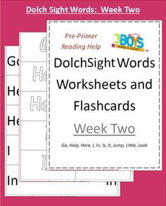 Dolch Site Words Week 2 Dolch Sight Words Worksheets:  Week Two