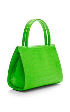 Neon Green Crocodile Skin Tote by Nancy Gonzalez for Preorder on Moda Operandi