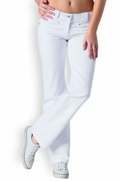 Pantalon Ceinture Large, Clinic, White Jeans, Pants, Dresses, Fashion, Cotton, Woman, Vestidos