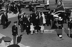 Transporting the mortal remains of President John Fitzgerald Kennedy from the White House to the Capitol with his widow Jacqueline and children John John and Caroline, new President Lyndon Johnson and brother Robert Kennedy on November 25, 1963 in Washington DC, United States.