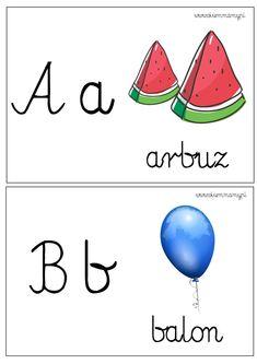 karty do nauki liter Baby Illustration, Kids And Parenting, Teaching Kids, Montessori, Kindergarten, Preschool, Sisters, Language, Lettering