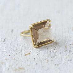 Smoky Topaz & Gold Ring