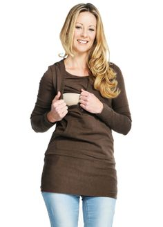 Thermal Pouch Pocket Maternity & Breastfeeding Top with Hoodie